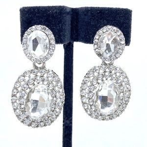Prom Pageant Bridal Jewelry - Clear Crystal Prom Bridal Pageant Formal Earrings